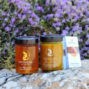 Anthea's thyme honey, bee elixir & Sesame bar – Θυμαρίσιο Μέλι, Bee elixir & Παστέλι